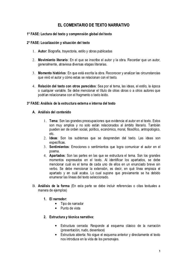 EL COMENTARIO DE TEXTO NARRATIVO  1º FASE: Lectura del texto y comprensión global del texto  2º FASE: Localización y situa...