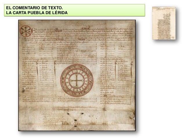 EL COMENTARIO DE TEXTO. LA CARTA PUEBLA DE LÉRIDA