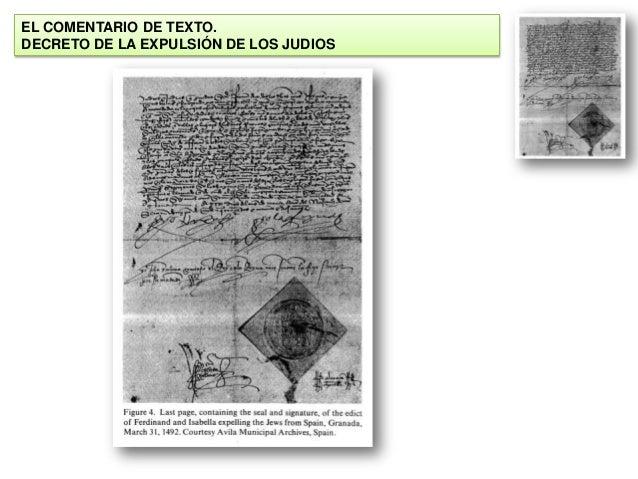 EL COMENTARIO DE TEXTO. DECRETO DE LA EXPULSIÓN DE LOS JUDIOS