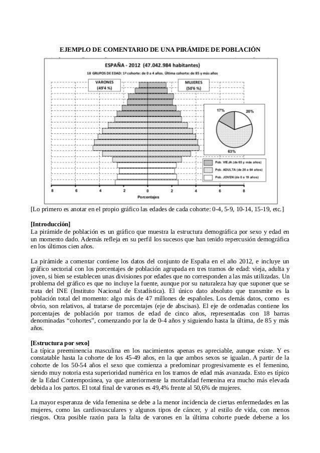 EJEMPLO DE COMENTARIO DE UNA PIRÁMIDE DE POBLACIÓN [Lo primero es anotar en el propio gráfico las edades de cada cohorte: ...