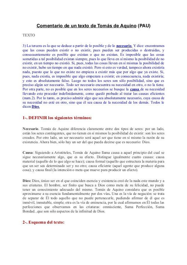 Comentario de un texto de Tomás de Aquino (PAU) TEXTO 3) La tercera es la que se deduce a partir de lo posible y de lo nec...