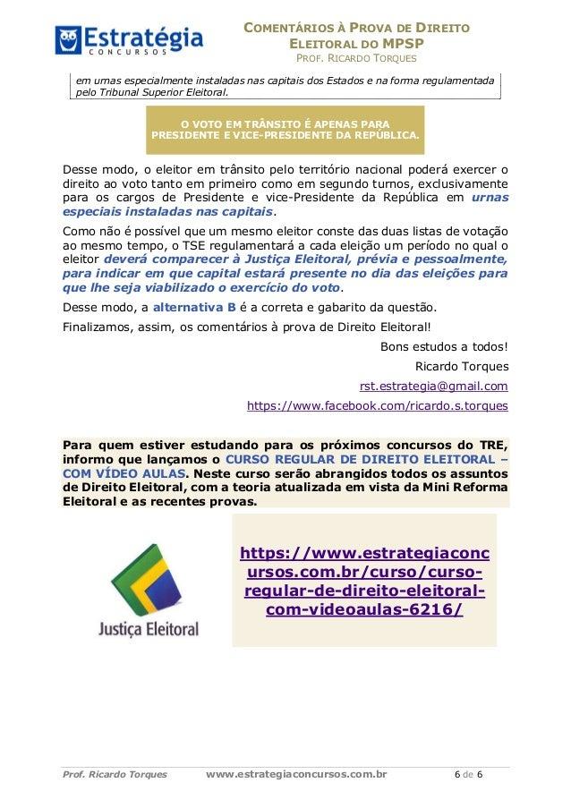 COMENTÁRIOS À PROVA DE DIREITO ELEITORAL DO MPSP PROF. RICARDO TORQUES Prof. Ricardo Torques www.estrategiaconcursos.com.b...