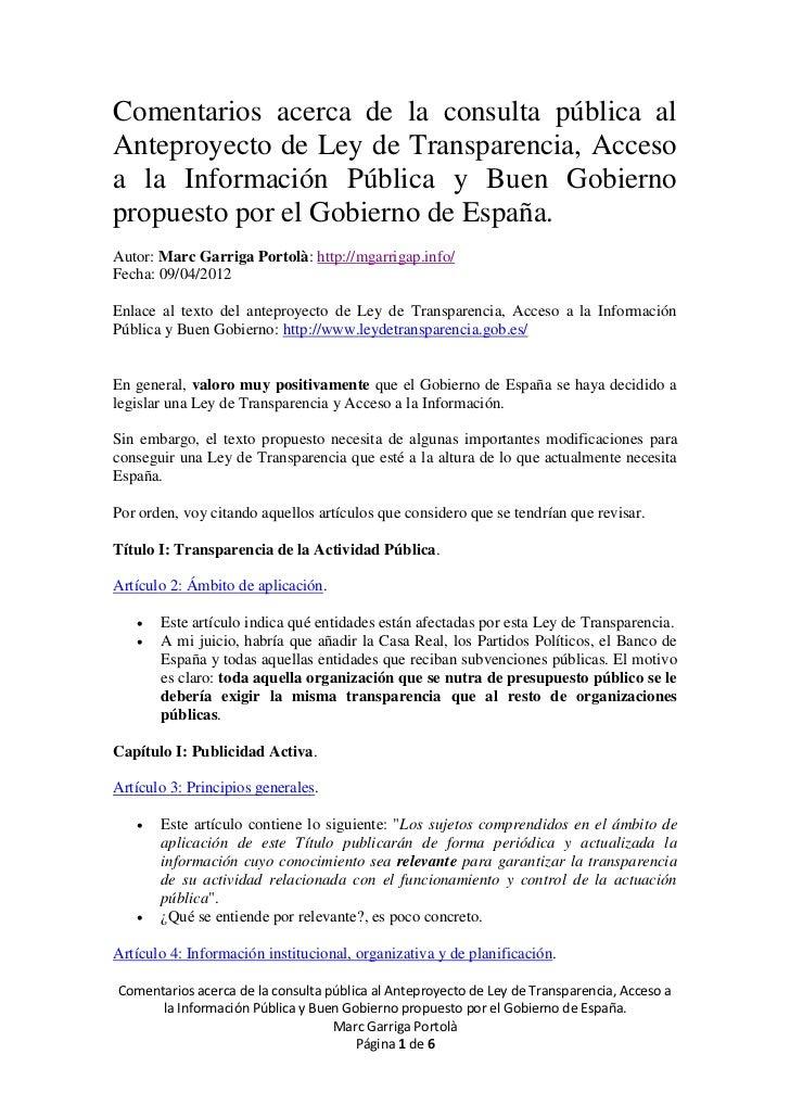 Comentarios acerca de la consulta pública alAnteproyecto de Ley de Transparencia, Accesoa la Información Pública y Buen Go...