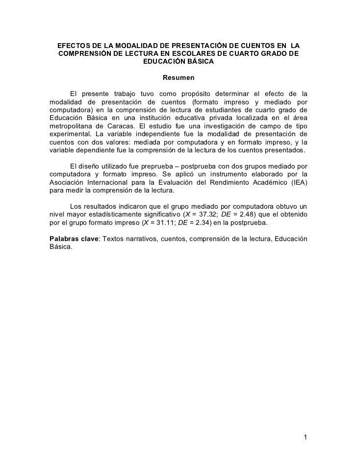 EFECTOS DE LA MODALIDAD DE PRESENTACIÓN DE CUENTOS EN LA  COMPRENSIÓN DE LECTURA EN ESCOLARES DE CUARTO GRADO DE          ...