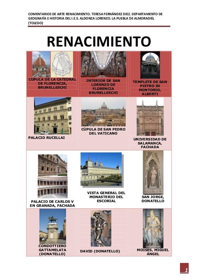 COMENTARIOS DE ARTE RENACIMIENTO. TERESA FERNÁNDEZ DIEZ. DEPARTAMENTO DEGEOGRAFÍA E HISTORIA DEL I.E.S. ALDONZA LORENZO. L...