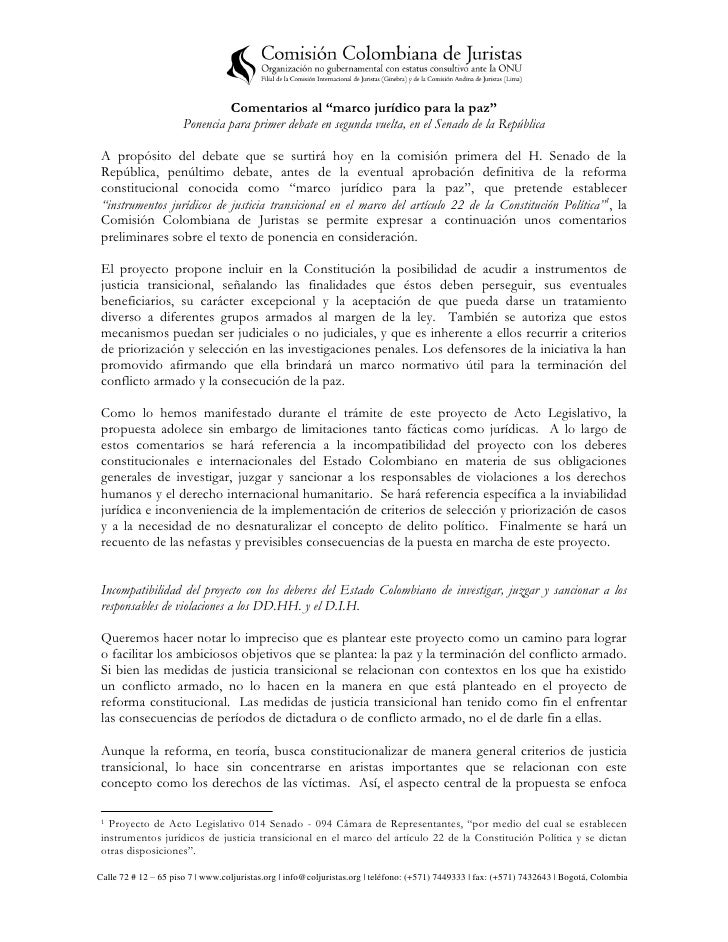 """Comentarios al """"marco jurídico para la paz""""                      Ponencia para primer debate en segunda vuelta, en el Sena..."""