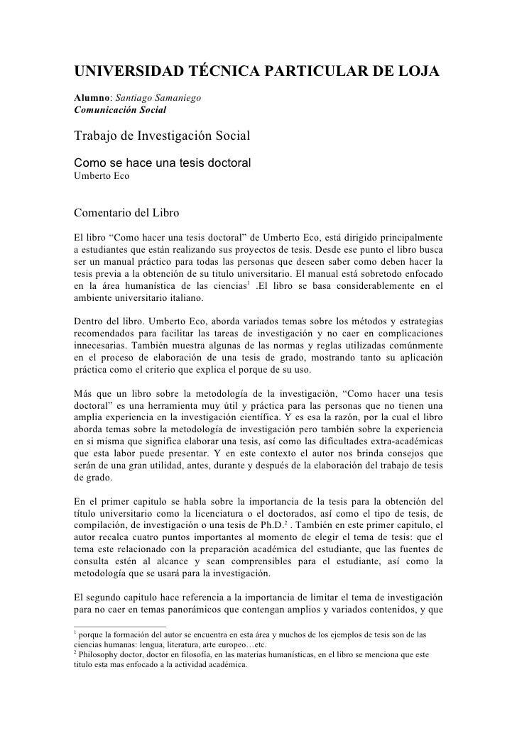 UNIVERSIDAD TÉCNICA PARTICULAR DE LOJA Alumno: Santiago Samaniego Comunicación Social  Trabajo de Investigación Social Com...