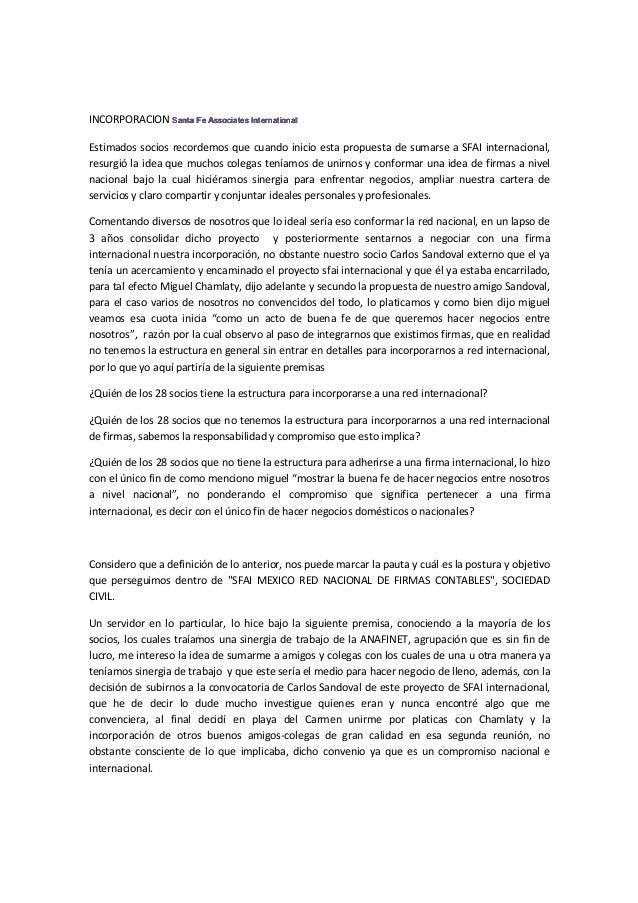 INCORPORACION Santa Fe Associates InternationalSanta Fe Associates InternationalSanta Fe Associates InternationalSanta Fe ...