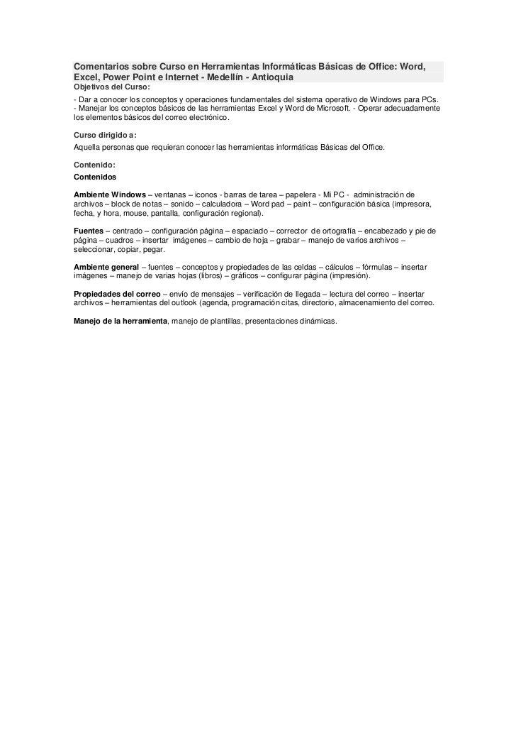 Comentarios sobre curso en herramientas informáticas básicas de office