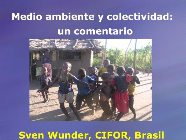Medio ambiente y colectividad: un comentario Sven Wunder, CIFOR, Brasil