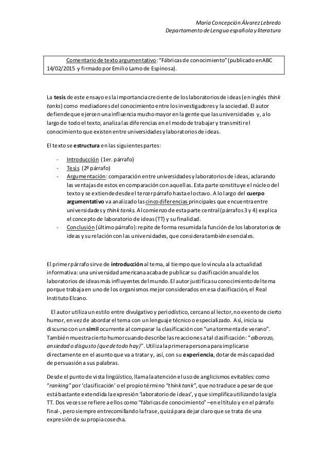 """María Concepción ÁlvarezLebredo Departamento deLengua española y literatura Comentariode textoargumentativo:""""Fábricasde co..."""
