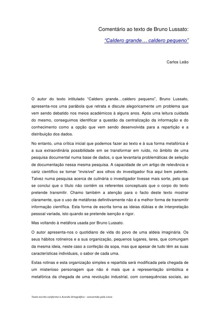 "Comentário ao texto de Bruno Lussato:                                                            ""Caldero grande… caldero ..."