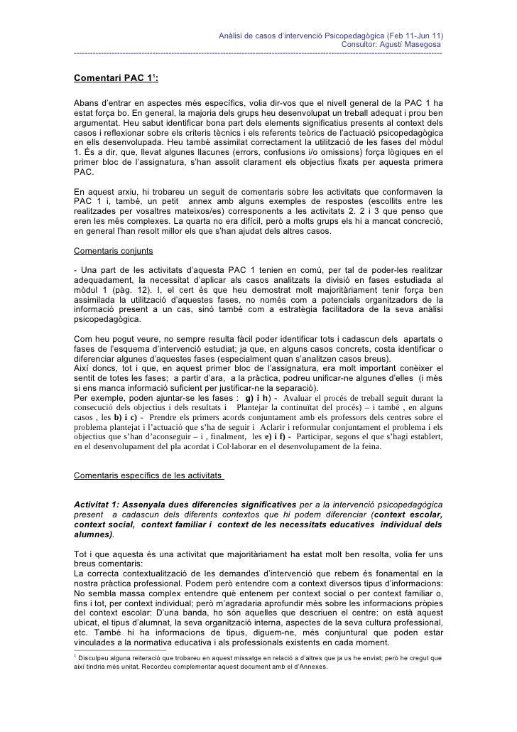Analisi de casos PAC 1 UOC Comentaris generals