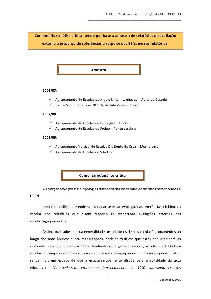 Práticas e Modelos de Auto-avaliação das BE`s - DREN - T8                                     ____________________________...