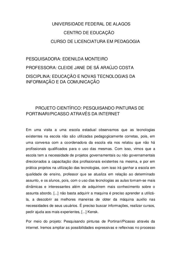 UNIVERSIDADE FEDERAL DE ALAGOS                       CENTRO DE EDUCAÇÃO               CURSO DE LICENCIATURA EM PEDAGOGIAPE...