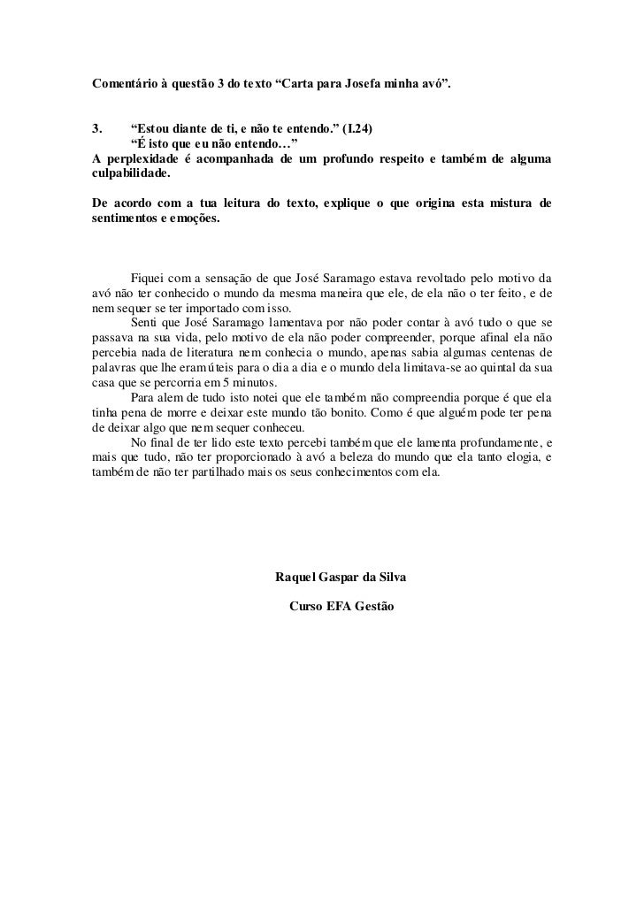 """145c4afbd Comentário à questão 3 do texto """"Carta para Josefa minha avó"""".3."""