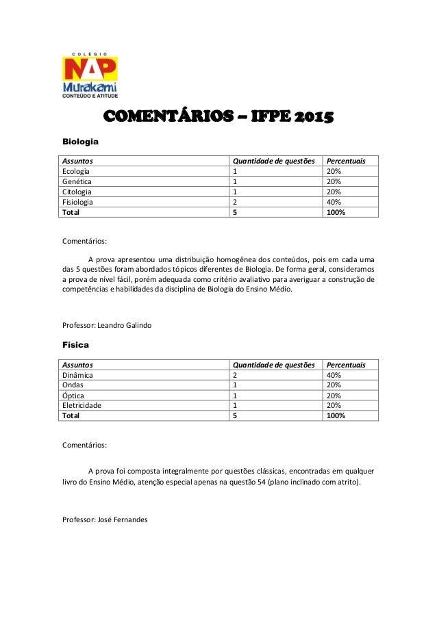 COMENTÁRIOS – IFPE 2015  Biologia  Assuntos  Quantidade de questões  Percentuais  Ecologia  1  20%  Genética  1  20%  Cito...