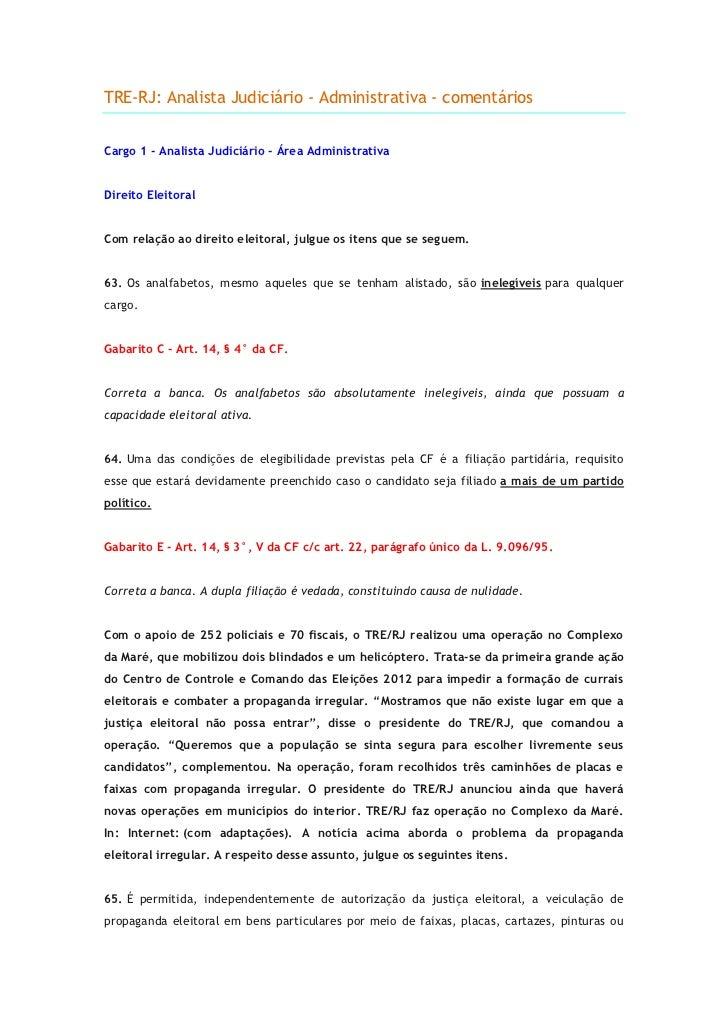 TRE-RJ: Analista Judiciário - Administrativa - comentáriosCargo 1 - Analista Judiciário - Área AdministrativaDireito Eleit...