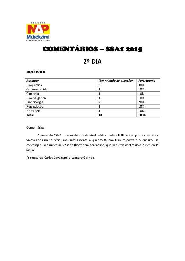 COMENTÁRIOS – SSA1 2015  2º DIA  BIOLOGIA  Assuntos  Quantidade de questões  Percentuais  Bioquímica  3  30%  Origem da vi...