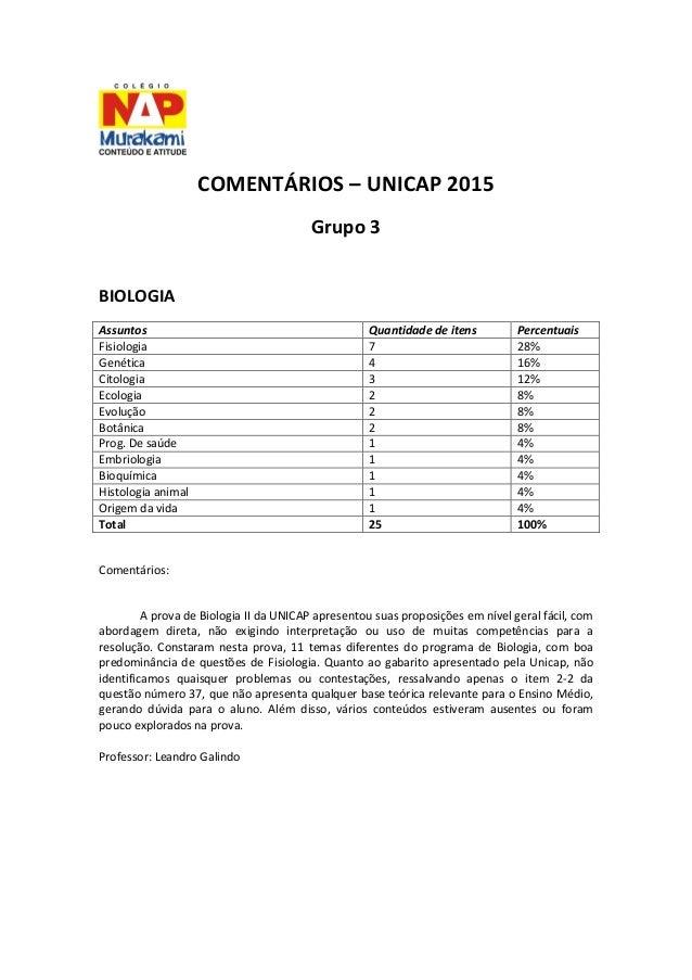 COMENTÁRIOS – UNICAP 2015 Grupo 3 BIOLOGIA Assuntos Quantidade de itens Percentuais Fisiologia 7 28% Genética 4 16% Citolo...
