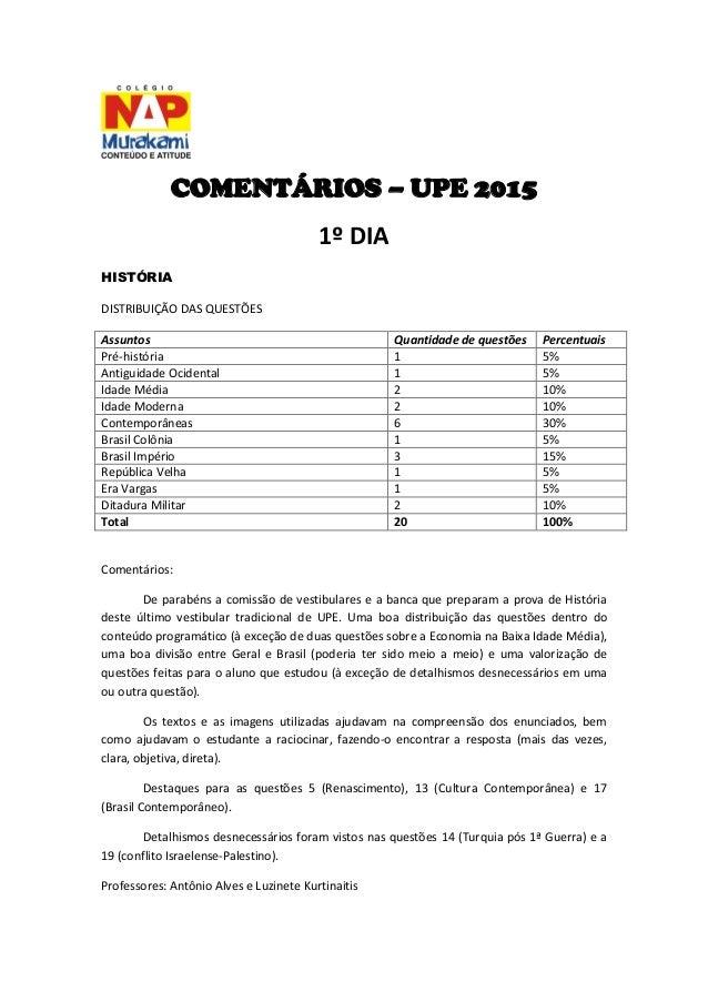 COMENTÁRIOS – UPE 2015  1º DIA  HISTÓRIA  DISTRIBUIÇÃO DAS QUESTÕES  Assuntos  Quantidade de questões  Percentuais  Pré-hi...