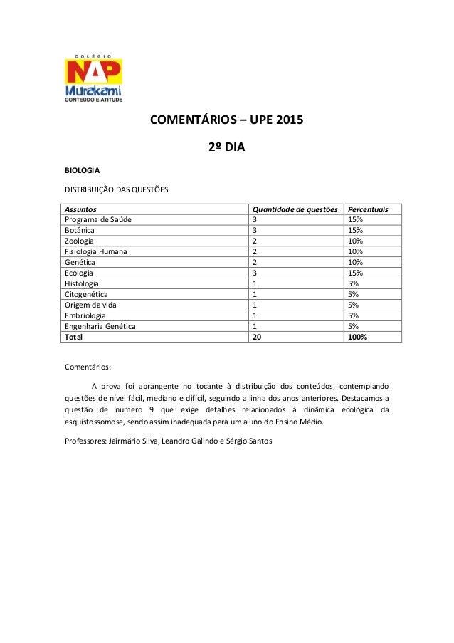 COMENTÁRIOS – UPE 2015  2º DIA  BIOLOGIA  DISTRIBUIÇÃO DAS QUESTÕES  Assuntos  Quantidade de questões  Percentuais  Progra...