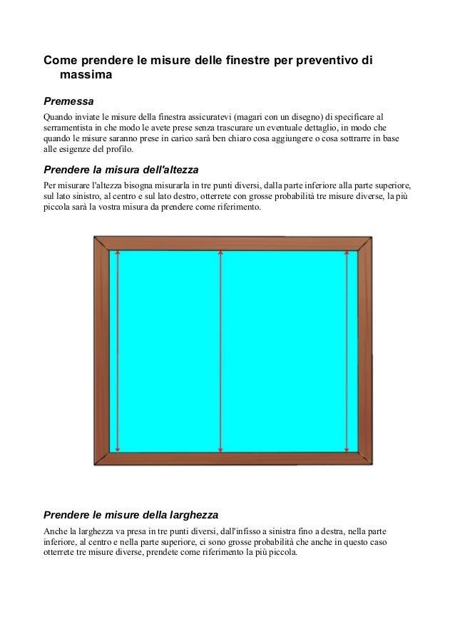 Come prendere le misure finestre per preventivo di massima for Preventivo finestre