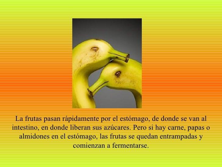 La frutas pasan rápidamente por el estómago, de donde se van alintestino, en donde liberan sus azúcares. Pero si hay carne...