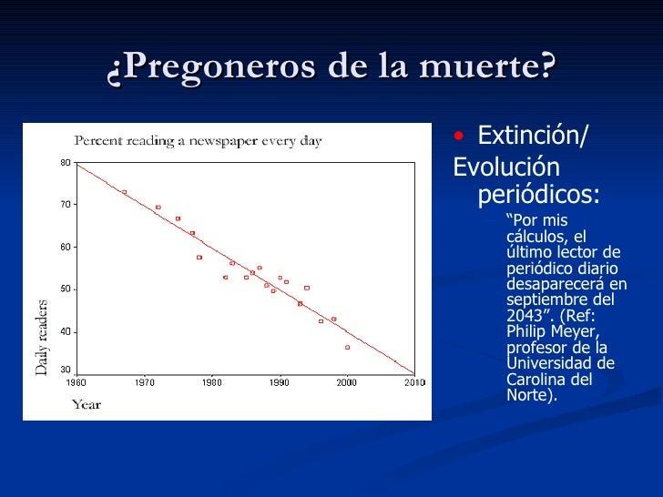 "¿Pregoneros de la muerte? <ul><li>Extinción/ </li></ul><ul><li>Evolución periódicos:   </li></ul><ul><ul><li>"" Por mis cál..."