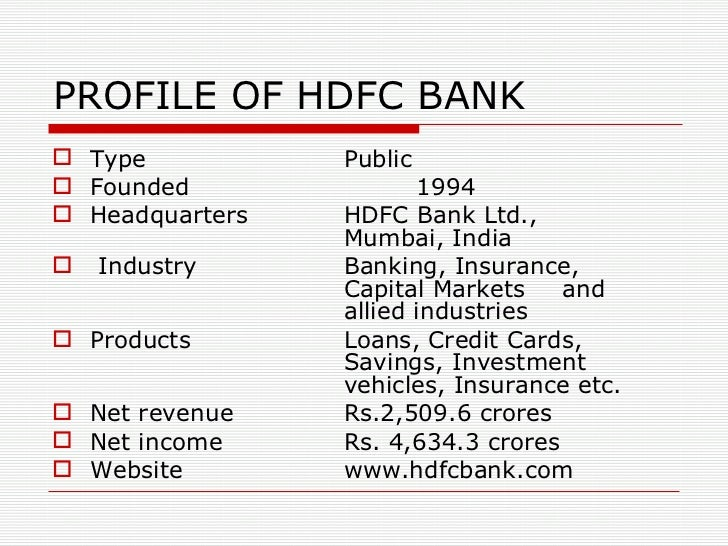 Hdfc bank 9 profile of hdfc bank reheart Gallery