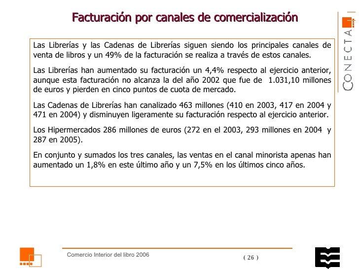 Facturación por canales de comercialización  Las Librerías y las Cadenas de Librerías siguen siendo los principales canale...