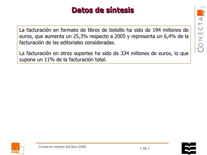 Datos de síntesis La facturación en formato de libros de bolsillo ha sido de 194 millones de euros, que aumenta un 25,3% r...