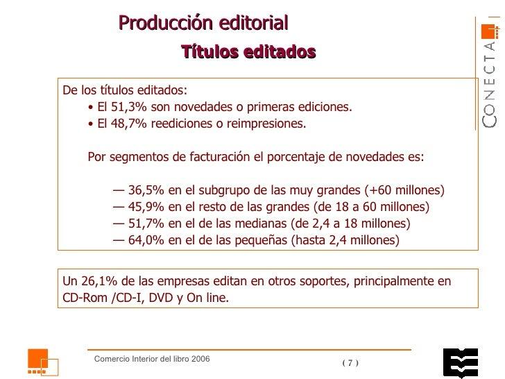 Producción editorial  <ul><li>De los títulos editados: </li></ul><ul><ul><li>El 51,3% son novedades o primeras ediciones. ...