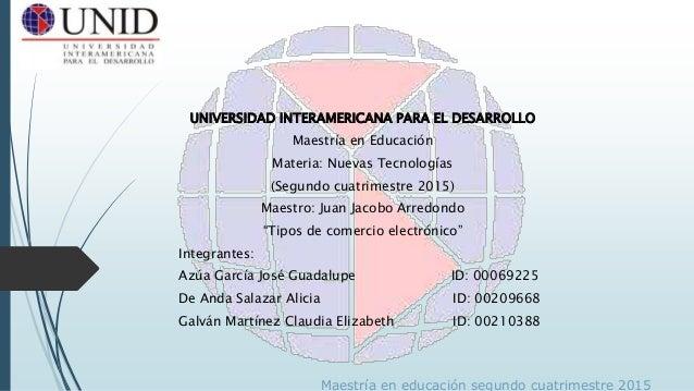 UNIVERSIDAD INTERAMERICANA PARA EL DESARROLLO Maestría en Educación Materia: Nuevas Tecnologías (Segundo cuatrimestre 2015...