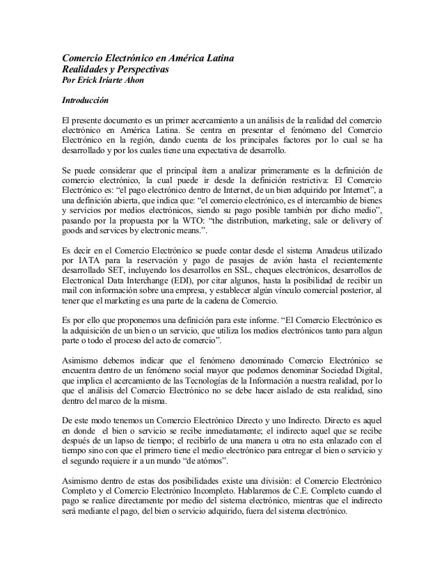 Comercio Electrónico en América Latina Realidades y Perspectivas Por Erick Iriarte Ahon Introducción El presente documento...