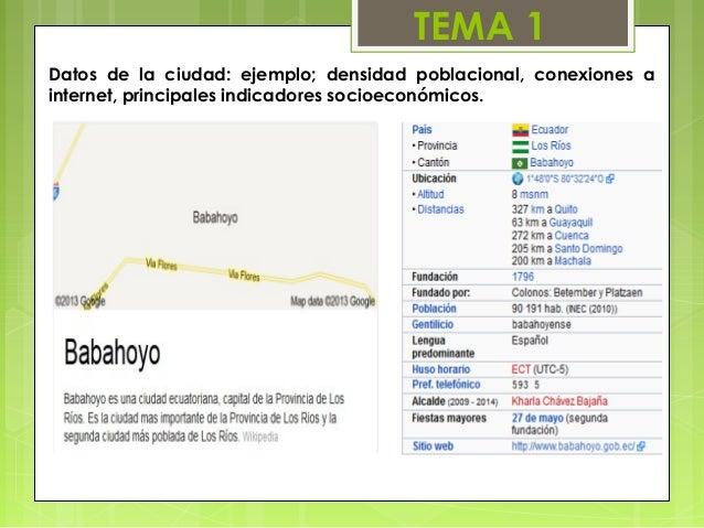 TEMA 1Datos de la ciudad: ejemplo; densidad poblacional, conexiones ainternet, principales indicadores socioeconómicos.