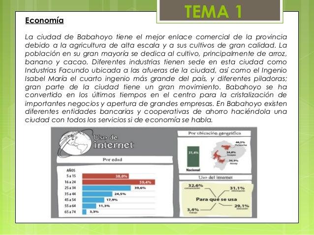 Economía                                             TEMA 1La ciudad de Babahoyo tiene el mejor enlace comercial de la pro...