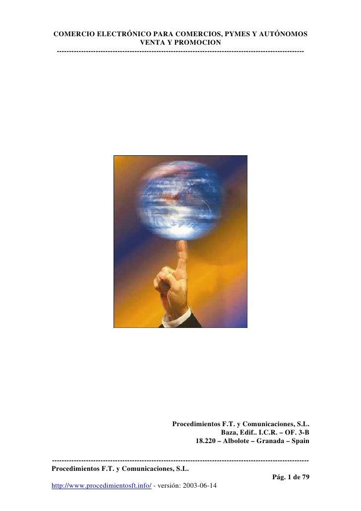 COMERCIO ELECTRÓNICO PARA COMERCIOS, PYMES Y AUTÓNOMOS                                    VENTA Y PROMOCION  -------------...
