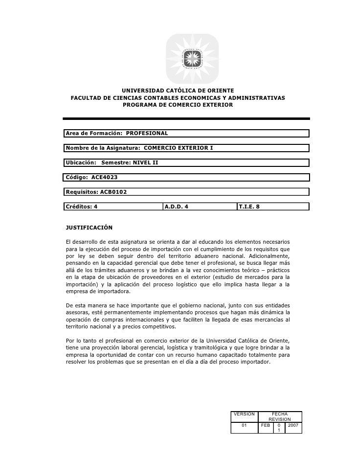 UNIVERSIDAD CATÓLICA DE ORIENTE FACULTAD DE CIENCIAS CONTABLES ECONOMICAS Y ADMINISTRATIVAS                PROGRAMA DE COM...