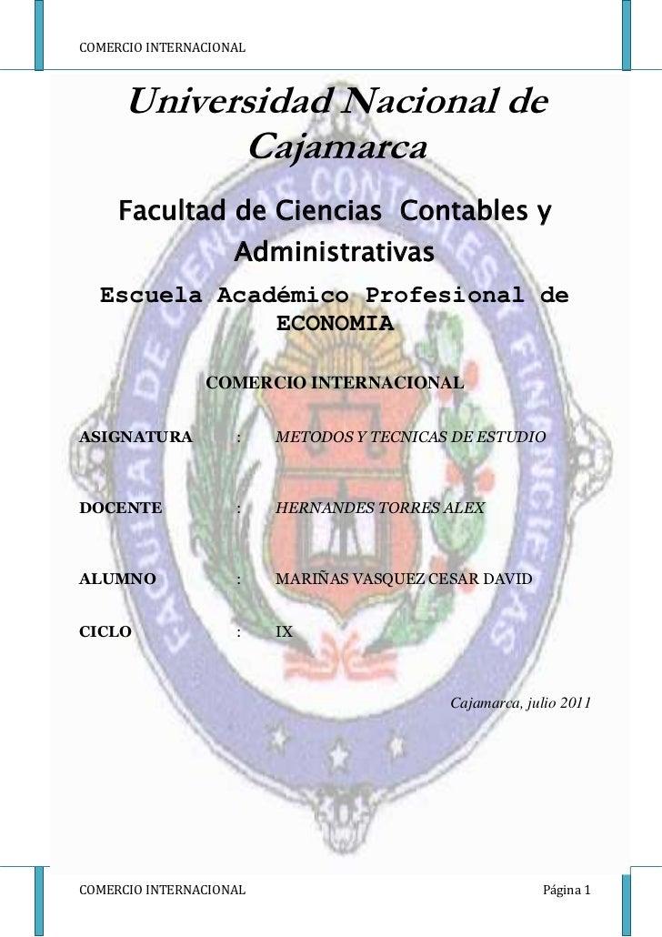 -328930-5842000Universidad Nacional de Cajamarca <br />Facultad de Ciencias  Contables y Administrativas <br />Escuela Aca...