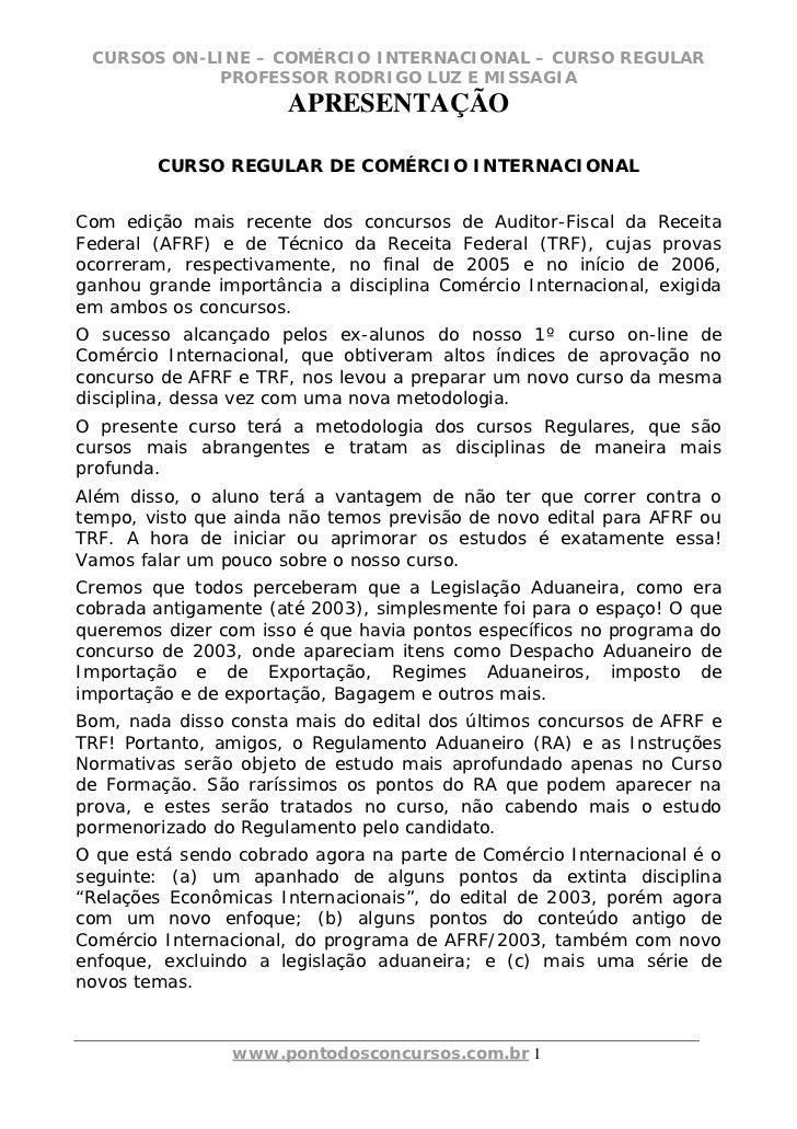CURSOS ON-LINE – COMÉRCIO INTERNACIONAL – CURSO REGULAR            PROFESSOR RODRIGO LUZ E MISSAGIA                      A...