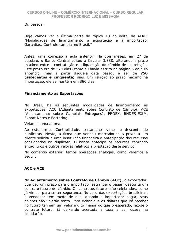 CURSOS ON-LINE – COMÉRCIO INTERNACIONAL – CURSO REGULAR            PROFESSOR RODRIGO LUZ E MISSAGIAOi, pessoal.Hoje vamos ...
