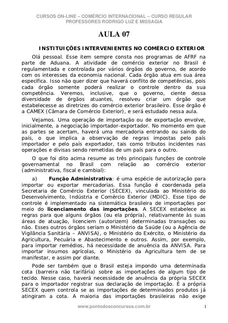 CURSOS ON-LINE – COMÉRCIO INTERNACIONAL – CURSO REGULAR               PROFESSORES RODRIGO LUZ E MISSAGIA                  ...