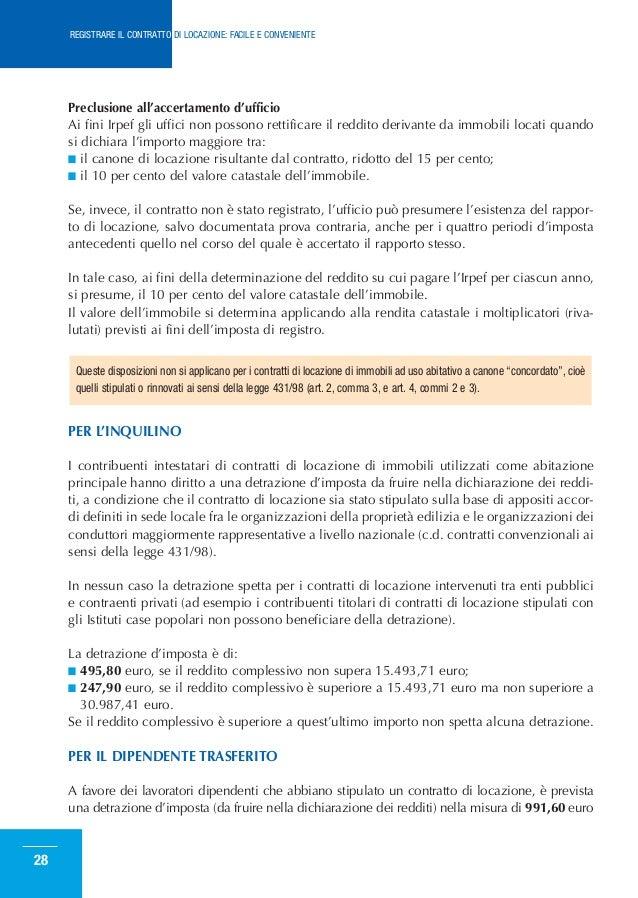 Come registrare il contratto di locazione for Contratto di locazione arredato