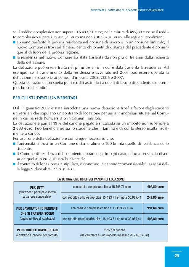 Come registrare il contratto di locazione for Detrazione canone locazione