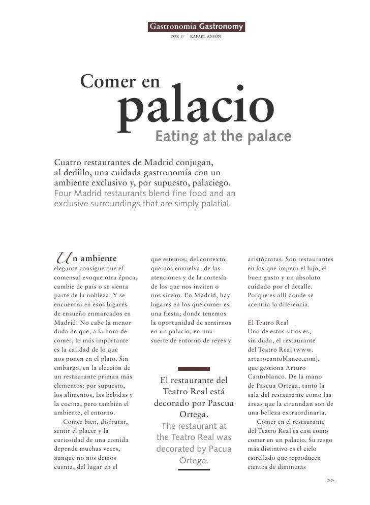 Gastronomía Gastronomy                                     por by   rafael ansón        Comer en                     palac...