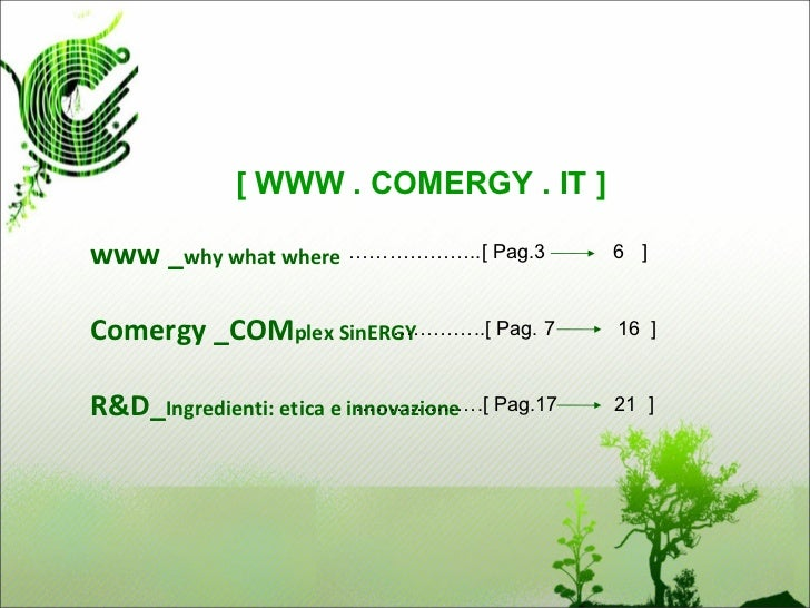 [ WWW . COMERGY . IT ]www _why what where ………………..[ Pag.3           6 ]Comergy _COMplex SinERGY                      …………....