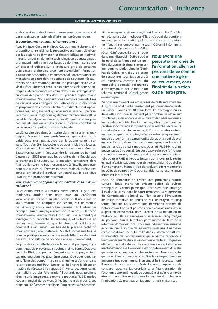 Communication & InfluenceN°31 - Mars 2012 - page 3                                                ENTRETIEN AVEC REMY PAUT...
