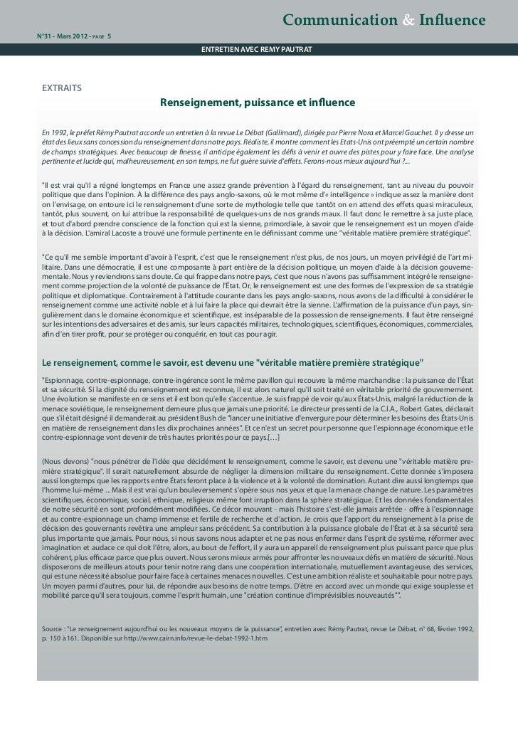 Communication & InfluenceN°31 - Mars 2012 - page 5                                                      ENTRETIEN AVEC REM...