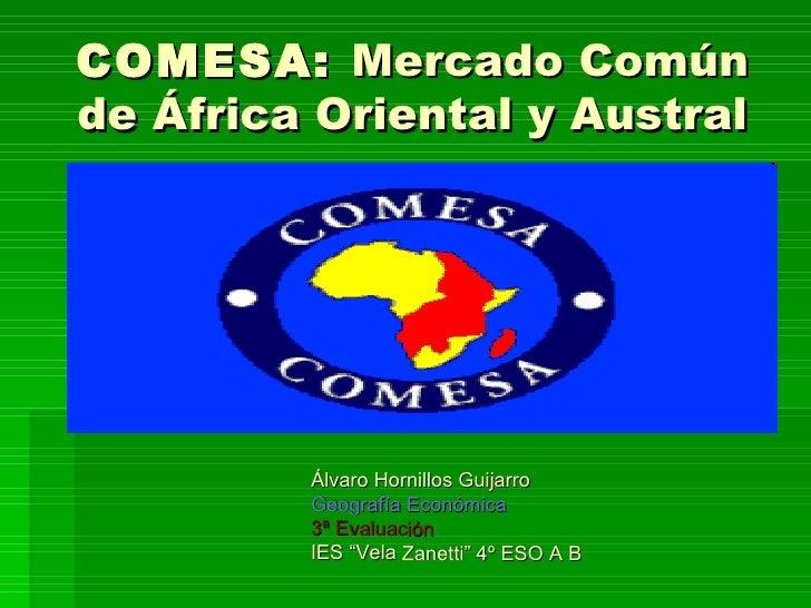 COMESA: Mercado Comúnde África Oriental y Austral         Álvaro Hornillos Guijarro         Geografía Económica         3ª...